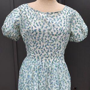 1950's Blue Rose Puffed Sleeve Dress